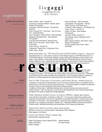 Liv Gaggi Resume image